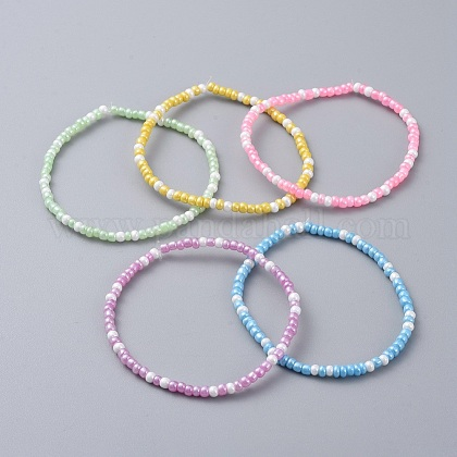 Semillas de vidrio con cuentas para niños pulseras elásticasBJEW-JB04824-1