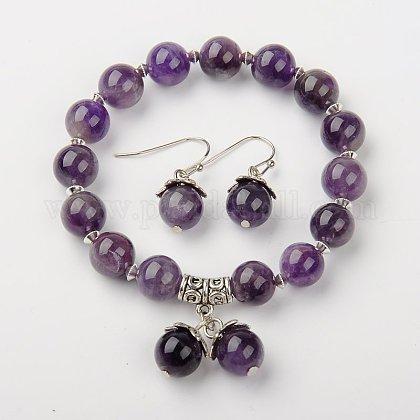 Amethyst Jewelry SetsSJEW-JS00695-05-1