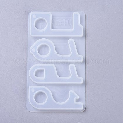 Touch Door Opener Silicone Molds, Contactless Keychain Molds, UV Resin, Epoxy Resin Jewelry Making, Clear, 141x82x7mm DIY-K025-14