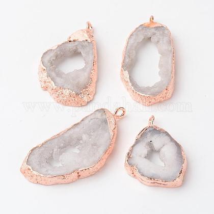 Natural Geode Agate Druzy Slice PendantsG-L461-04A-1