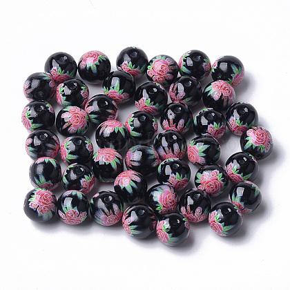 Perles de verre imprimées et peintes au pistoletX-GLAA-S047-03B-08-1