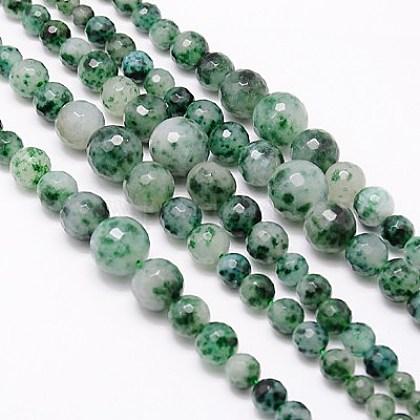 Chapelets de perles en jaspe à pois verts naturelsX-G-G548-37-1