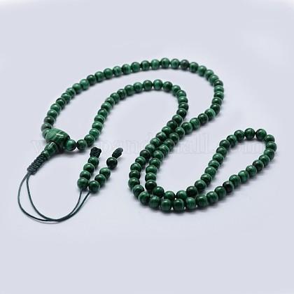 Collares de perlas de malaquita natural malaNJEW-F218-03-1