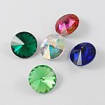 Glass Pointed Back Rhinestone, Rivoli Rhinestone, Back Plated, Cone, Mixed Color, 12x6mm