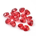Romantic Valentines Ideas Glass Charms, Faceted Heart Charm, Red, 10x10x5mm, Hole: 1mm