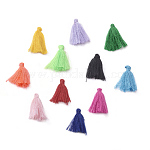 Polycotton(Polyester Cotton) Tassel Pendant Decorations, Mixed Color, 28~34x5mm