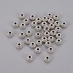 アンティークシルバー合金ロンデルスペーサービーズ, カドミウムフリー&鉛フリー, 6x4mm, 穴:1.5mm
