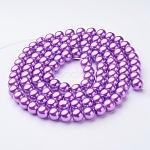 Стеклянные жемчужные бусины, жемчужные, круглые, темно-фиолетовые, 8 мм, Отверстие : 1 мм; около 105 шт / нитка, 32