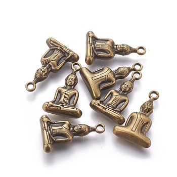 Tibetische Stil Anhänger & Charms, bleifrei und Nickel frei, Buddha, für Buddha, Antik Bronze, 36x23x8 mm, Bohrung: 3 mm
