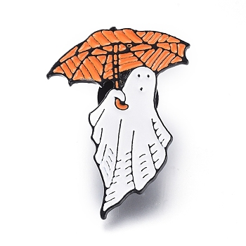 Сплавочные брошки, эмалевый штифт, с пластиковой фурнитурой, призрак с зонтиком, для Хэллоуина, красочный, 35x24x1.5 мм, штифты : 1 мм
