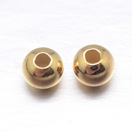 Vraies perles d'espacement rondes en argent sterling plaqué 18k or véritableSTER-M103-04-3mm-G-1
