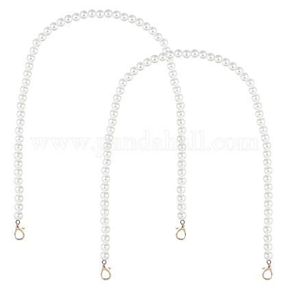 PandaHall 2 pcs 23 Inch 10mm ABS Plastic Imitation Pearl Bead Handle Short Bag Chain Strap Replacement Bag Chain Lobster Clasps Handbag Purse Wallet Clutch Crafts Making, White FIND-PH0001-73