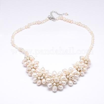 Collares de cuentas de perlas de floresNJEW-N0014-33-1