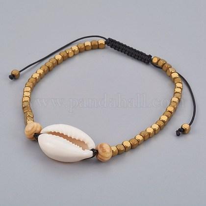 Nylon ajustable pulseras de abalorios trenzado del cordónX-BJEW-JB04092-1