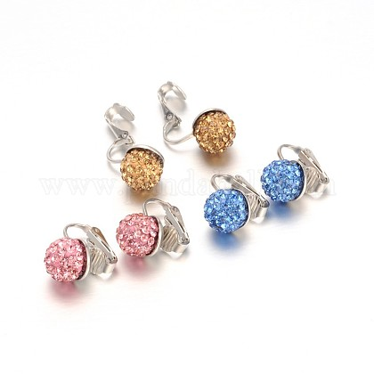 Trendy Polymer Clay Rhinestone Beads Clip-on Earrings EJEW-JE01514-1