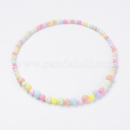 Bola de acrílico maciza de chicle gruesa bolas niños collaresNJEW-JN02091-04-1