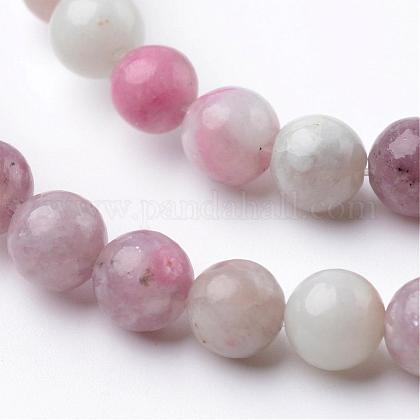 Dyed Round Natural Pink Tourmaline Beads StrandsG-K089-6mm-05-1