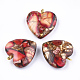 Assembled Bronzite and Imperial Jasper Pendants, with Iron Findings, Heart, Golden, 22x20x7mm, Hole: 2mm