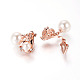 Real Rose Gold Plated Fashion Alloy Austrian Crystals Dangle EarringsEJEW-AA00057-01-3