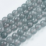 Естественно нефритовый шарик нити, окрашенные, граненые, круглые, серые, 8 мм; отверстие: 1 мм; 48 шт / прядь, 14.9