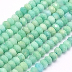 Natural Amazonite Beads Strands, Faceted, Rondelle, 9x7mm, Hole: 1mm; about 53pcs/strand, 15.1