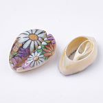 Printed Natural Cowrie Shell Beads, No Hole/Undrilled, Colorful, 20~25x14~16x5~7mm