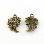 Tibetan Style Alloy Pendants, Leaf, Lead Free, Antique Bronze, 20x12.5x2.5mm, Hole: 1.5mm; about 1190pcs/1000g