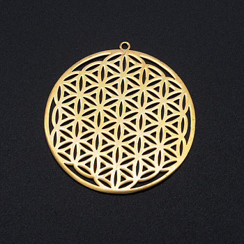 201 Edelstahl filigranen Charme, spirituelle Reize, Blume des Lebens, golden, 42x40x1 mm, Bohrung: 1.6 mm