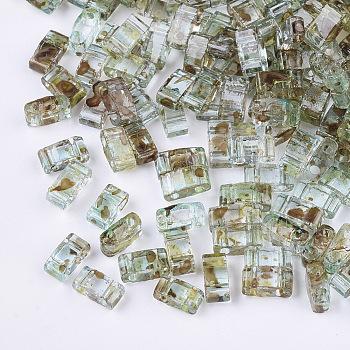 Cuentas de semillas de vidrio transparente de 2 orificio, Rectángulo, turquesa pálido, 4.5~5.5x2x2~2.5mm, agujero: 0.5~0.8 mm