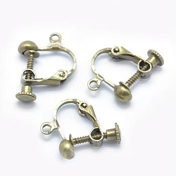 Tornillo de latón en los fornituras del clip de pendiente, para los oídos no perforado, sin níquel, Bronce antiguo, 18x14x3mm, agujero: 1.6 mm