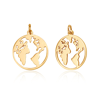 201 Stainless Steel Pendants, Ring with Map, Golden, 20x17.5x1mm, Hole: 3mm