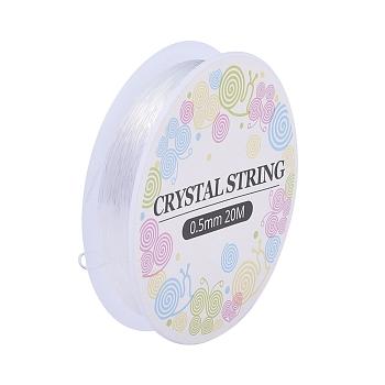 Fil cristal, fil élastique, cordons de perles de bijoux, pour la fabrication de bracelets élastiques, blanc, 0.5 mm; environ 18 m/rouleau