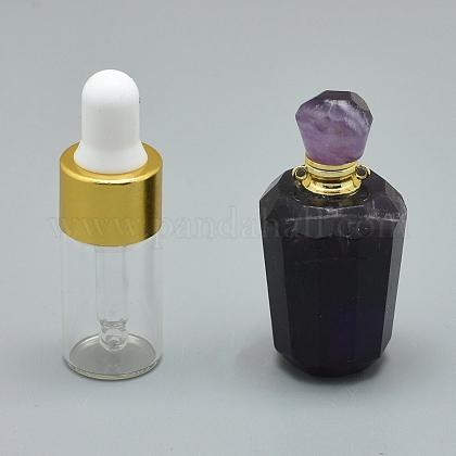 Colgantes de botella de perfume abribles con amatista natural facetadaG-E556-05D-1