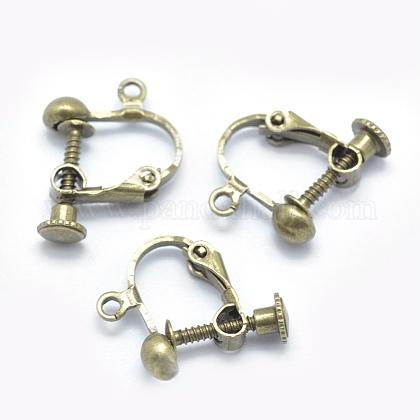 Tornillo de latón en los fornituras del clip de pendienteX-KK-L164-01AB-NF-1