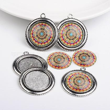 Rondes plates pendentif en alliage supports cabochons de la lunette et de fleurs imprimés géométriques cabochons de verreTIBEP-X0171-03-1