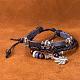 Aleación de zinc unisex ajustable pot leaf casual y pulseras de cuero de varias vueltasBJEW-BB15609-9
