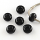 Imitation Cat Eye Resin European Beads, Large Hole Rondelle Beads, Black, 13~14x7~7.5mm, Hole: 5mm