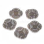 Iron Pendants, Filigree, Flower, Antique Bronze, Size: about 30mm long, 30mm wide, 0.3mm thick, hole: 2mm