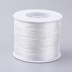 韓国の平らな弾性結晶ストリング, 弾性ビーズ糸, ストレッチブレスレット作り用, ホワイト, 0.5ミリメートル、約500 M /ロール