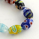 Oval Handmade Millefiori Glass Beads Strands, Mixed Color, 12x8mm, Hole: 1.5mm; about 32pcs/strand, 14.9inches