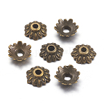 Tibetan Style Alloy Bead Caps, Lead Free, Cadmium Free & Nickel Free, Antique Bronze Color, Flower, 8mm long, 2.5mm thick, hole: 2mm
