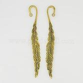 Tibetan Style Bookmarks, Lead Free & Nickel Free & Cadmium Free, Leaf, Antique Golden, 117x13x4mm, Hole: 2mm