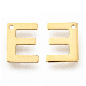 Encantos de 304 acero inoxidable, carta, encantos iniciales, letter.e, 11x6~12x0.8mm, agujero: 1 mm