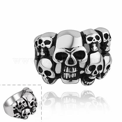 Fashionable 316L Stainless Steel Skull Rings Wide Band Rings for MenRJEW-BB10170-9-1
