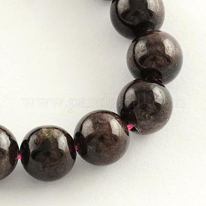 Natural Garnet Gemstone Bead StrandsG-R263-10mm-1