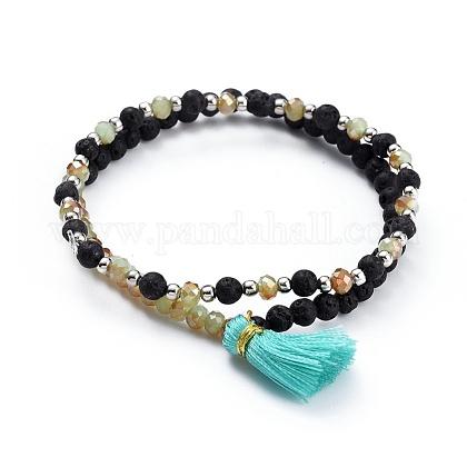 Electroplate Glass Beads Stretch Bracelet SetsBJEW-JB04388-05-1