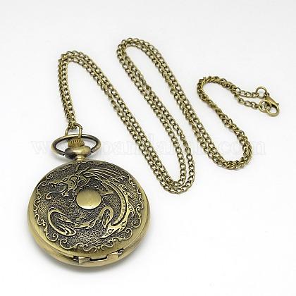 Aleación plano y redondo con reloj de bolsillo colgante de collar de dragónX-WACH-N012-28-1