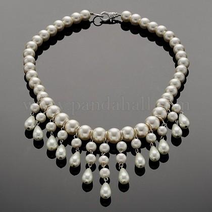 Fiesta de boda de cristal perla babero collares declaraciónNJEW-JN01158-1