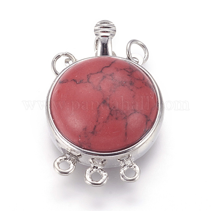 Synthetic Red Turquoise Box ClaspsG-L473-E04-1