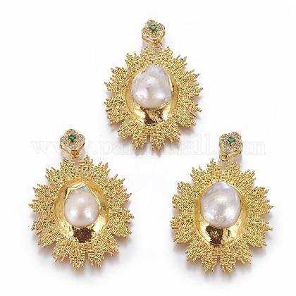 Colgantes grandes de perlas naturales de agua dulcePEAR-F011-70G-1
